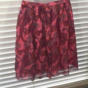 J. Crew Pink Paisley Pleated Silk Skirt Size 6